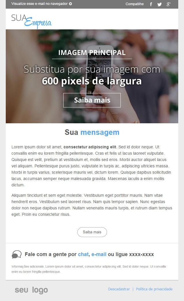 novo template de email com imagem em destaque e texto