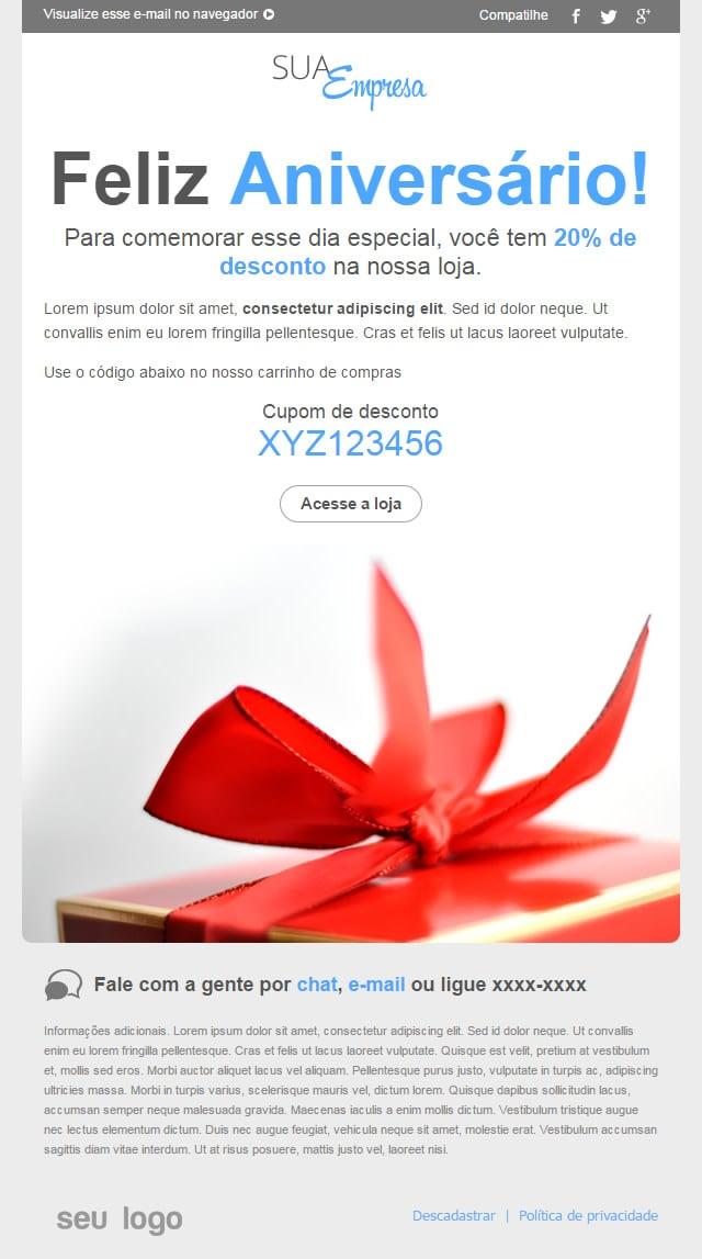 novo template de email Cupom de desconto