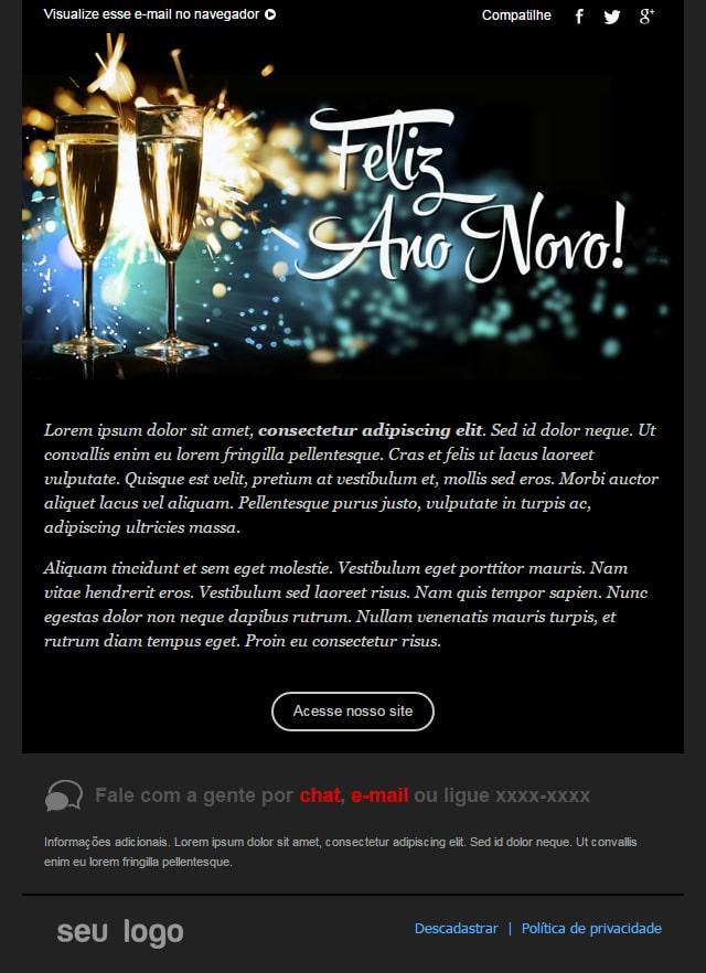 novo template de email Feliz Ano Novo