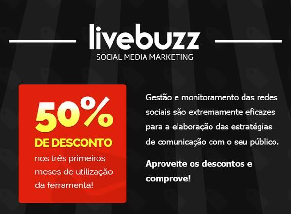 Desconto de 50% no Livebuzz