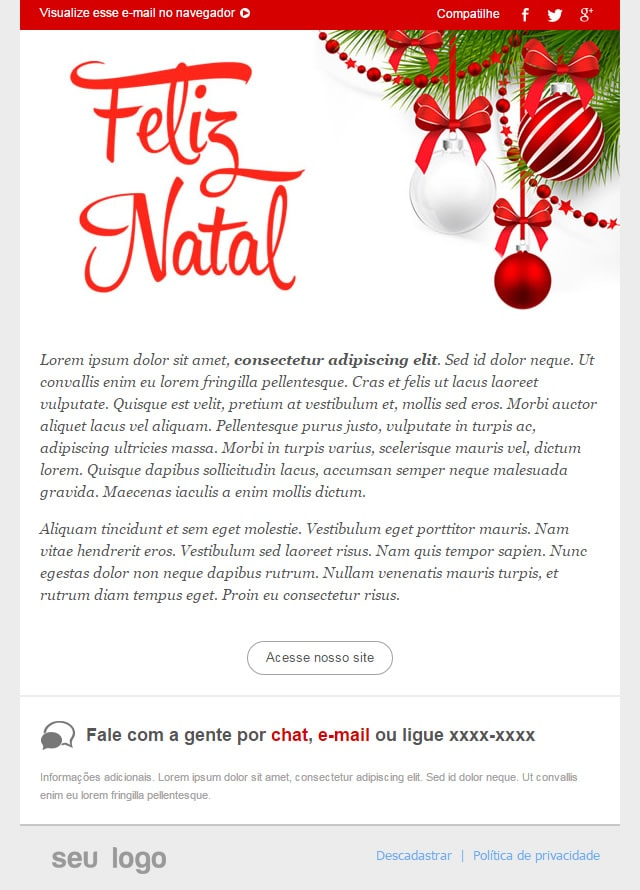 Template natalino para envio de e-mail marketing