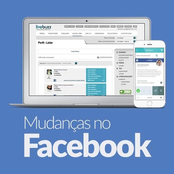 Mudanças no Facebook em dispositivos