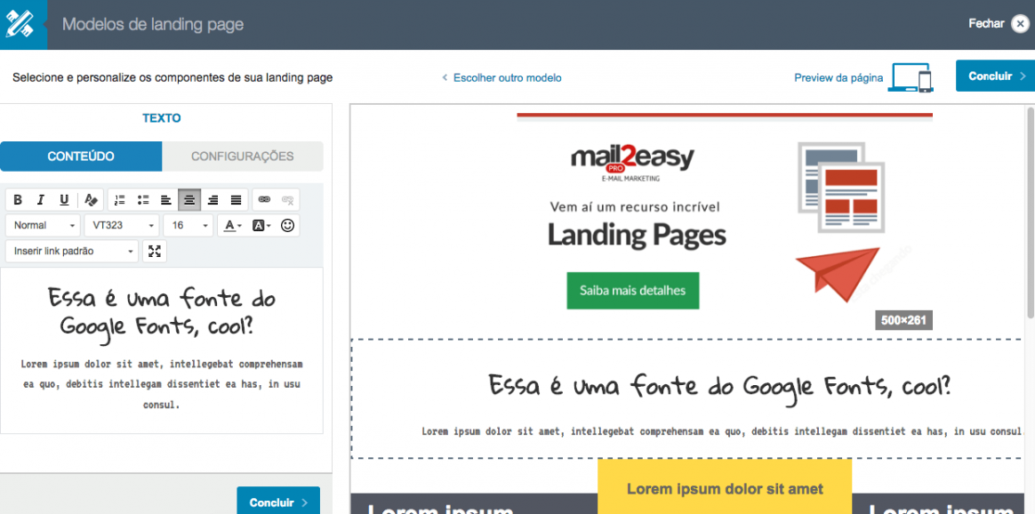 Landing pages - usando google fonts