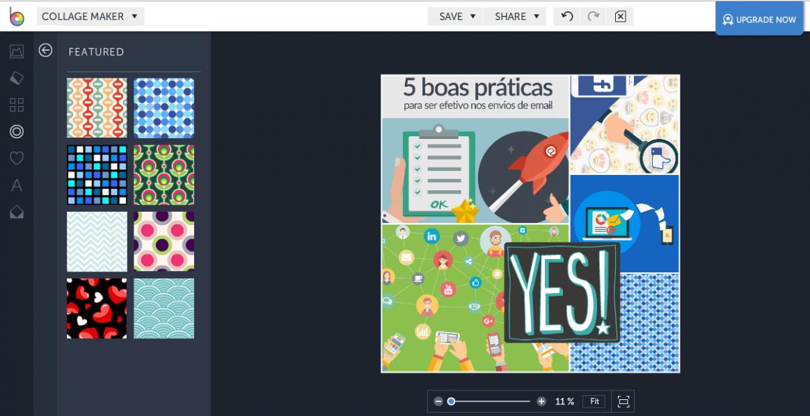 Edição online de imagens:Interface de edição do Collage Maker