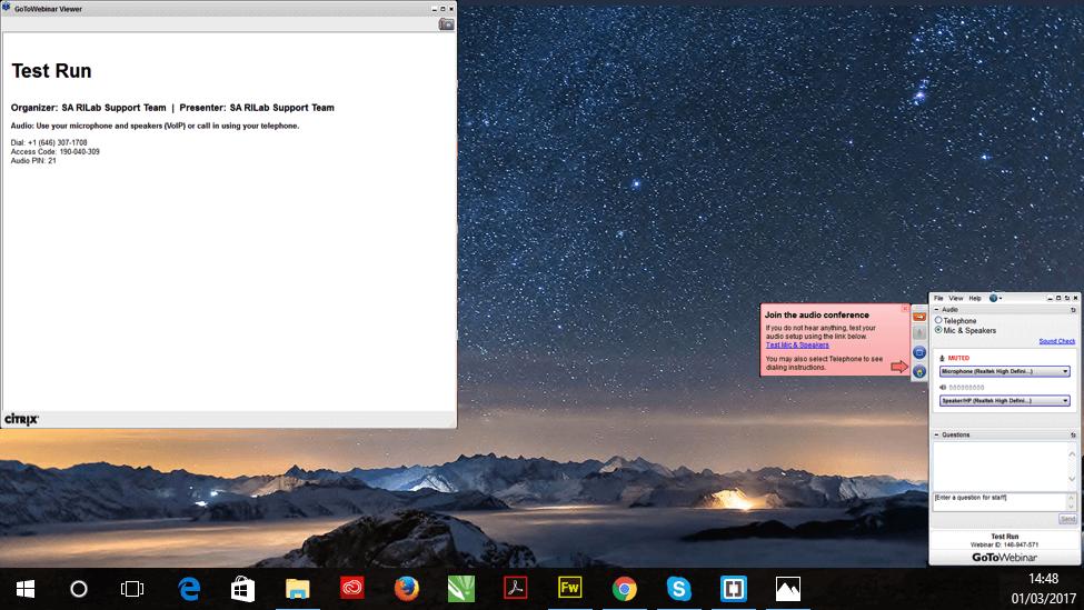 Ambiente para o webinar