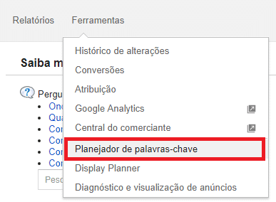 interface google adwords