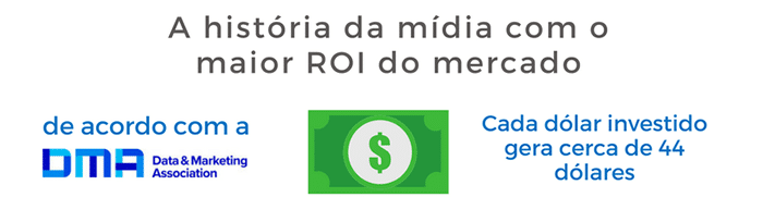A história da mídia com o maior roi do mercado, de acordo com a DMA (Direct Marketing Association), cada Dolár investido gera 44 doláres