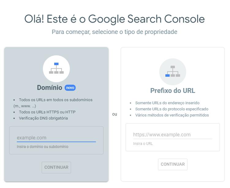 Criando sua conta no Google Search Console