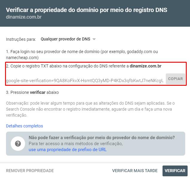 o Search Console solicitará uma validação de que essa página realmente é sua