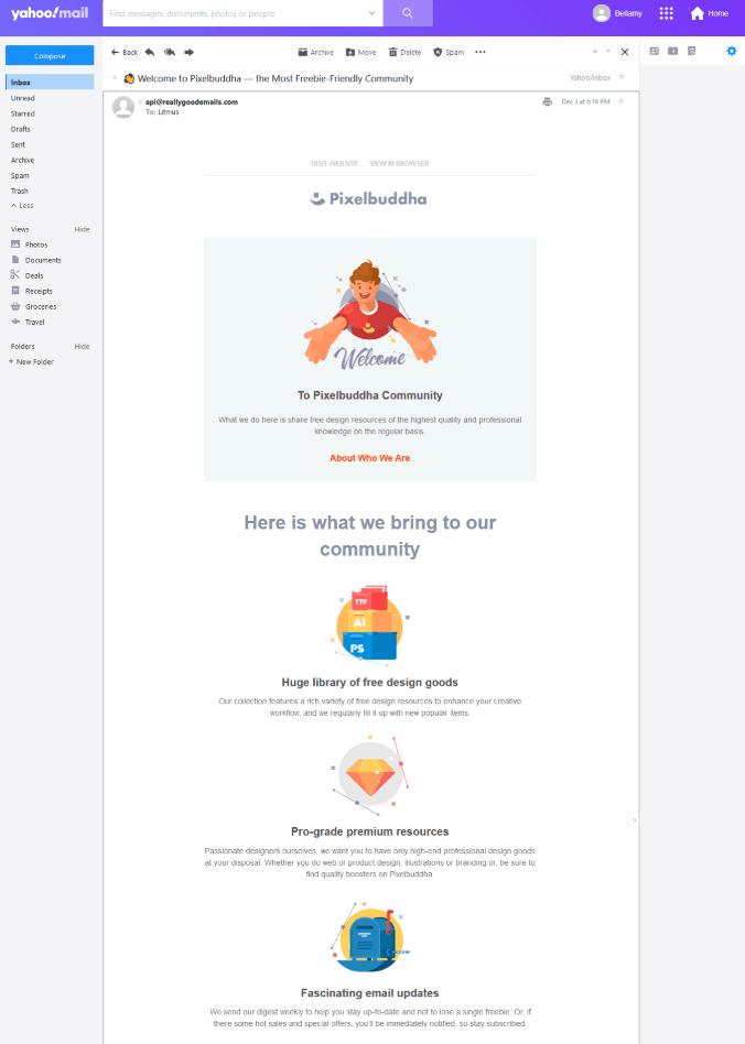 email de boas-vindas pixelbuddha