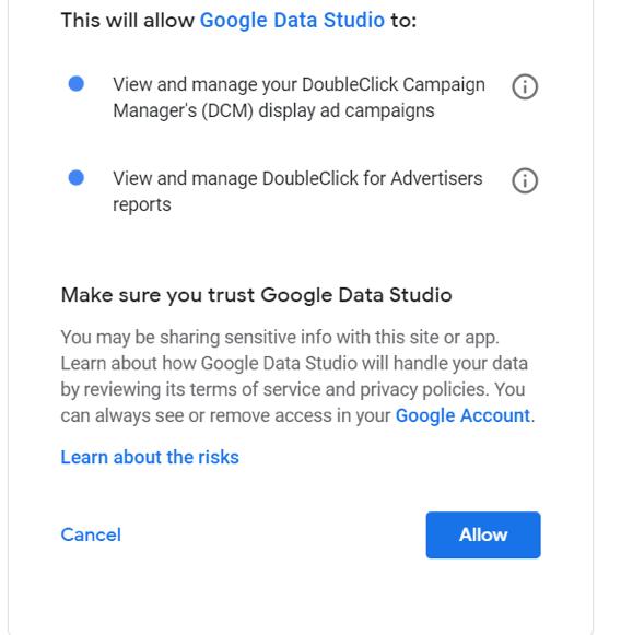allow integração Google data studio conta google