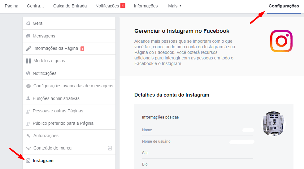 conectar conta do instagram com o facebook