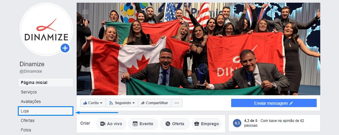 """Na sua página do Facebook, acesse a aba """"Loja""""."""