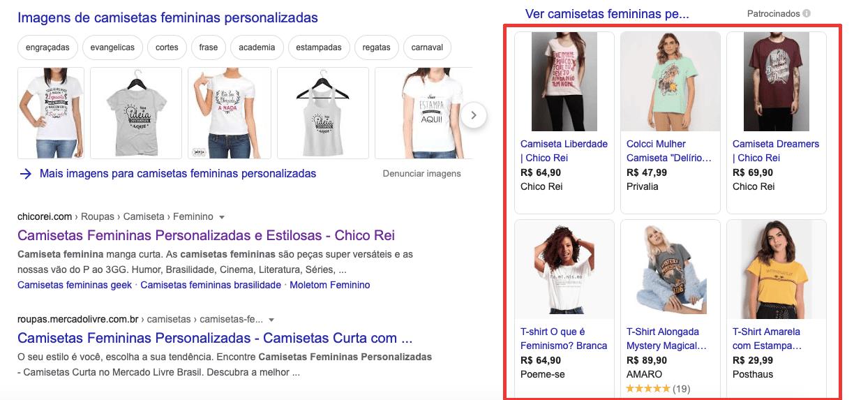 anúncio de mídia paga no Google Shopping exibindo imagens dos produtos