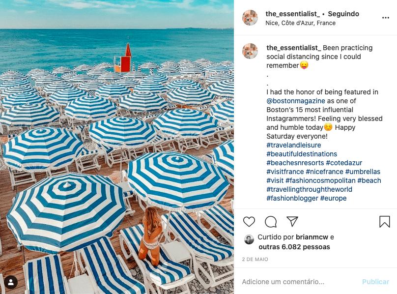 Exemplo de uso da hashtag em uma publicação de foto no Instagram