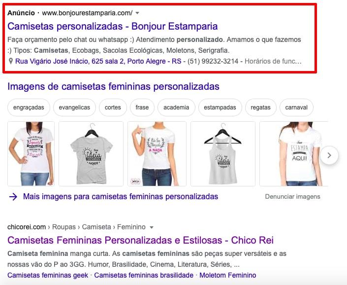 exemplo de anúncio de rede de pesquisa do Google Ads