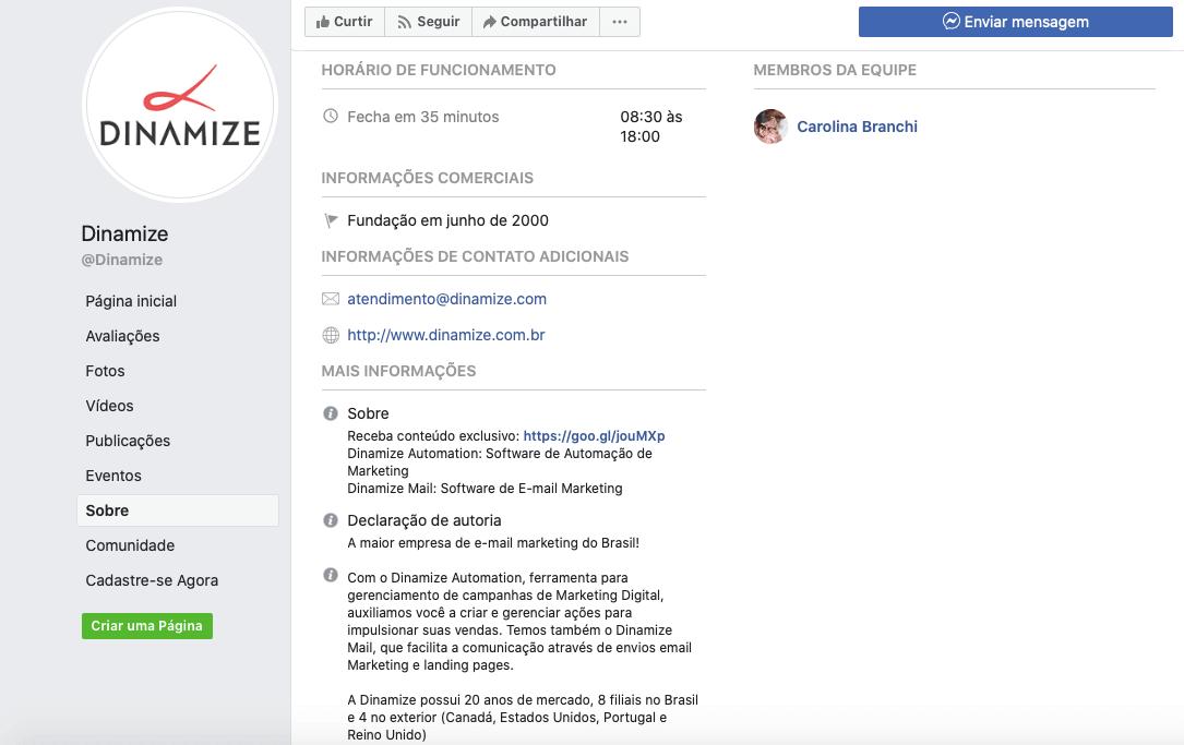 Sobre na página do facebook