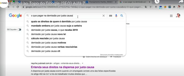 O Google oferece sugestões que podem qualificar ainda mais as suas ações de SEO para advogados.SEO