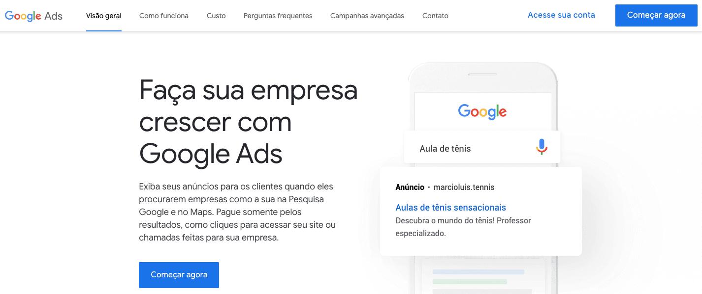 criar campanha google ads