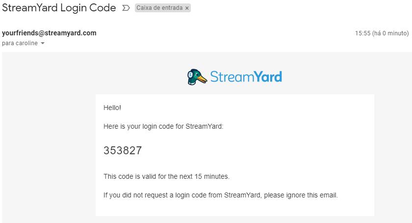 código por email