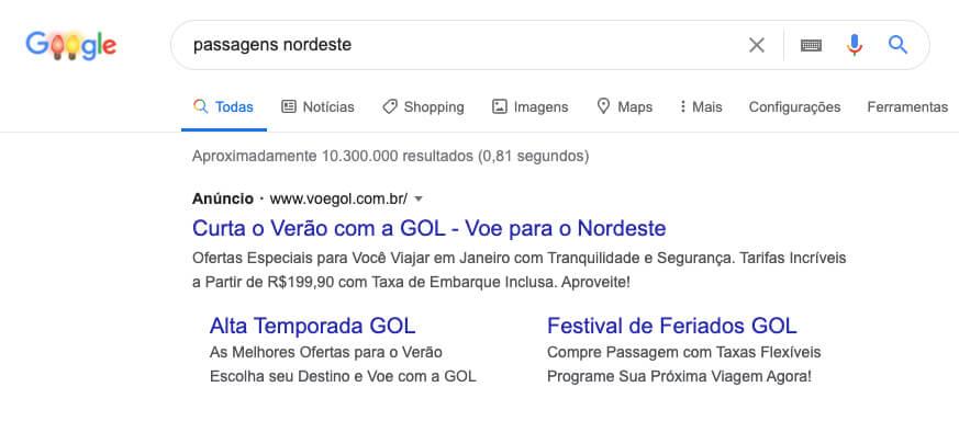Google Adwords - links patrocinados na SERP