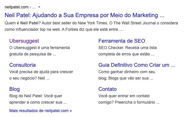 exemplo de sitelinks
