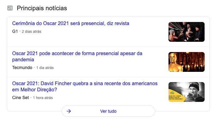 Box de notícias do Google