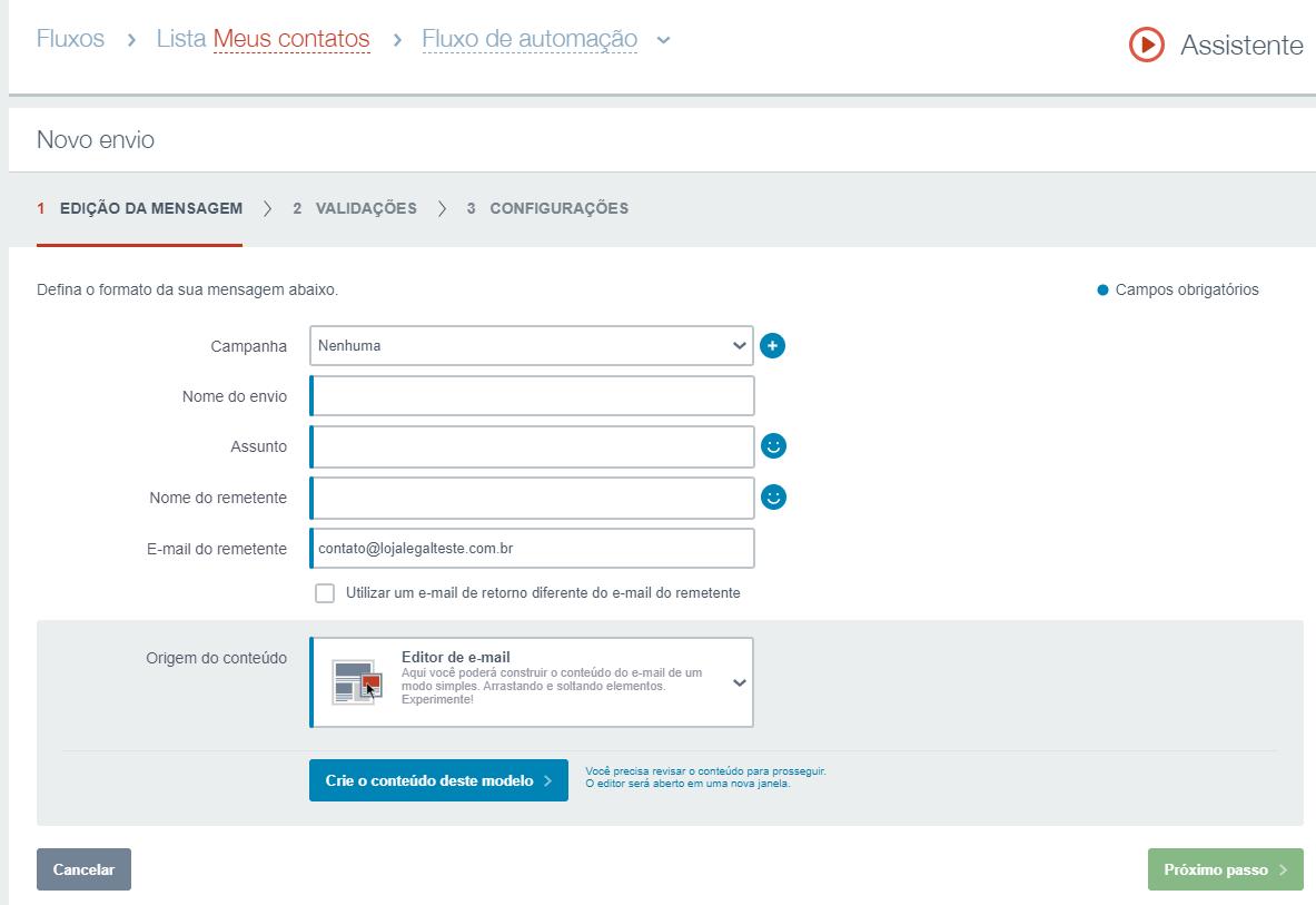 criação do email de conversão