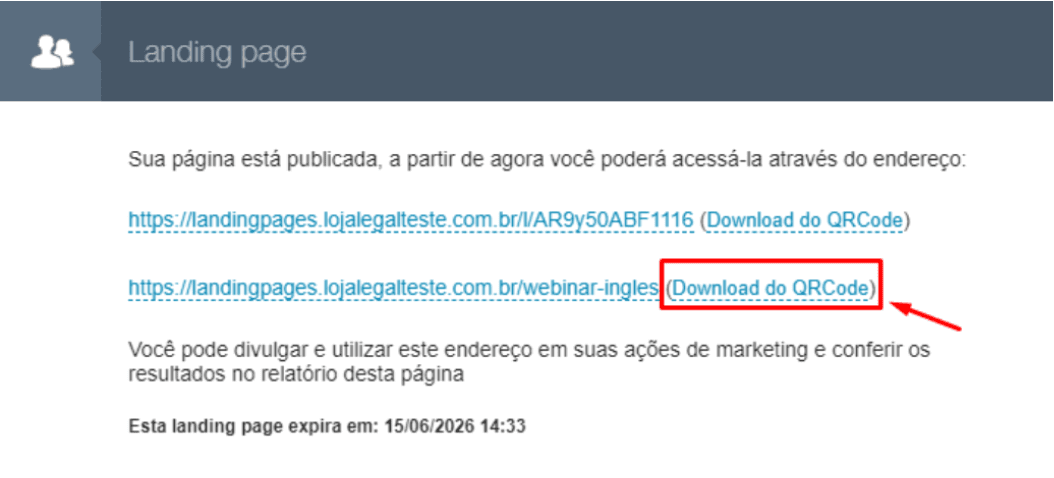 Download do código para a landing page